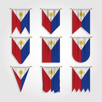 Philippinen flagge in verschiedenen formen, flagge der philippinen in verschiedenen formen