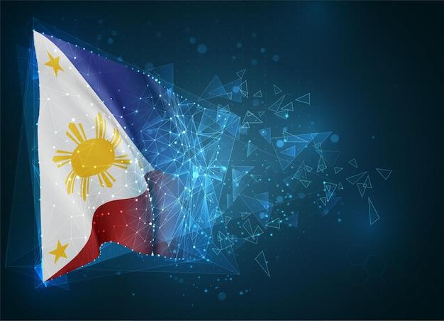 Philippinen, flagge, virtuelles abstraktes 3d-objekt aus dreieckigen polygonen auf blauem hintergrund