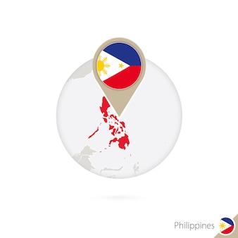 Philippinen-karte und flagge im kreis. karte von philippinen, flaggenstift der philippinen. karte von philippinen im stil der welt. vektor-illustration.