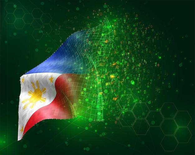 Philippinen, vektor-3d-flagge auf grünem hintergrund mit polygonen und datennummern