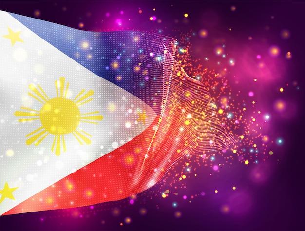 Philippinen, vektor-3d-flagge auf rosa lila hintergrund mit beleuchtung und fackeln