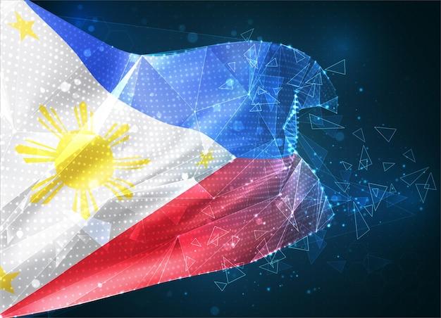 Philippinen, vektorflagge, virtuelles abstraktes 3d-objekt aus dreieckigen polygonen auf blauem hintergrund