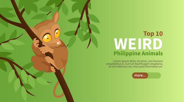 Phillipine reise isometrisches plakat mit top seltsame tiere illustration