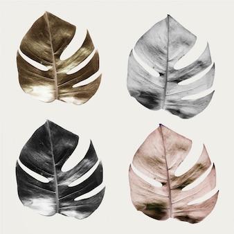 Philodendron-set mit gespaltenen blättern aus metall