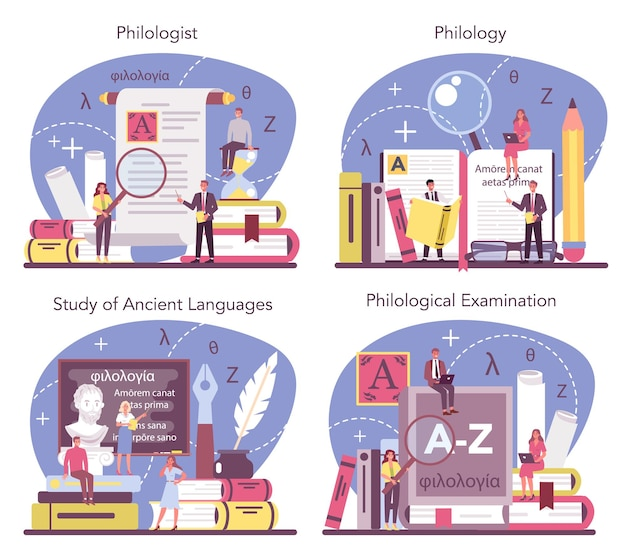 Philologe konzept gesetzt. professioneller wissenschaftler, der eine sprachstruktur studiert. philologie und übersetzung. isolierte vektorillustration