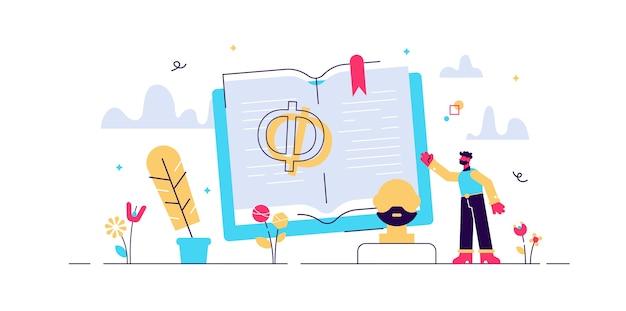 Philosophie illustration. winzige soziologiestudenten. alte und symbolische kulturelemente. skulptur mit weisem griechisch, buch und feder. wissenswissenschaft und existenzfrage.