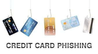 Phishing Kreditkartenvektor des wirklichen Fischenhakens