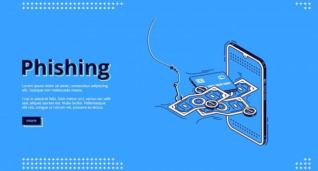 Phishing-landingpage. betrügerische personenbezogene daten