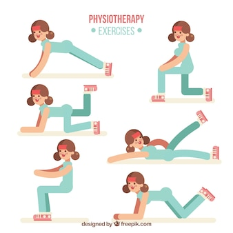 Phisiotherapie-übungen mit flachem design