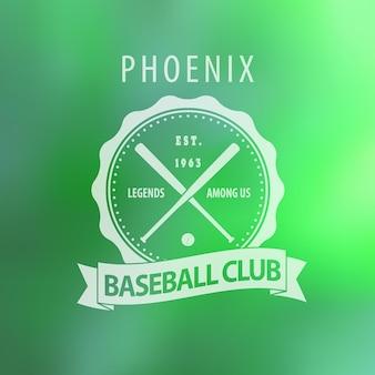 Phoenix baseball club vintage emblem auf unschärfe hintergrund
