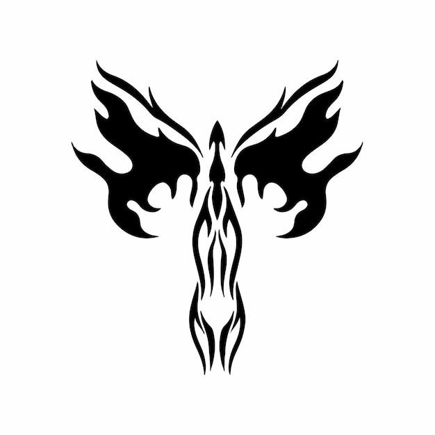 Phoenix bird logo tribal tattoo design schablone vektor illustration