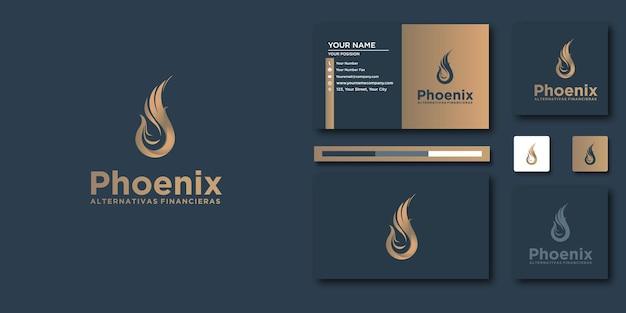 Phoenix-briefschablone mit modernem konzept und visitenkartendesign