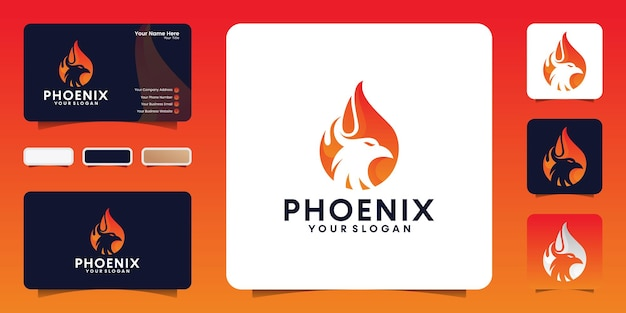 Phoenix feuer logo design vorlage und visitenkarte