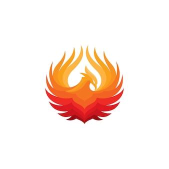 Phoenix-feuer-vogel-logo-vorlage