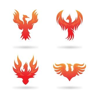 Phoenix feuervogel-logo Premium Vektoren