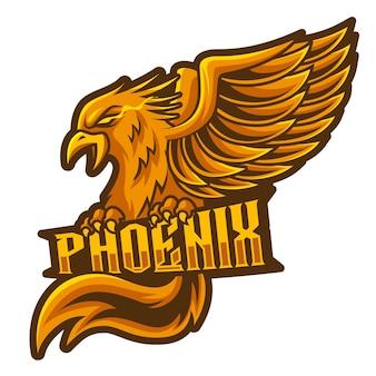 Phoenix-fliege, maskottchen-esport-logo-vektor-illustration