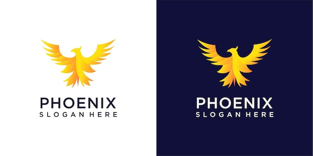 Phoenix logo design farbverlauf inspirationskollektion