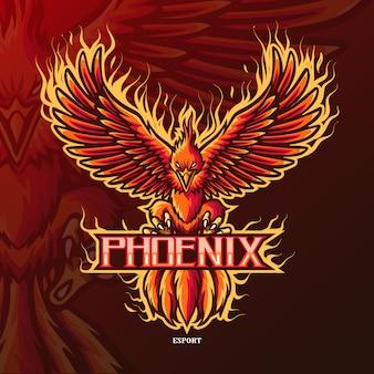 Phoenix maskottchen-esport-logo