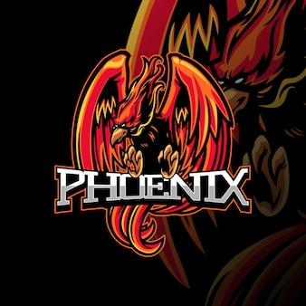 Phoenix-maskottchen-logo-illustration für epsort-spiele