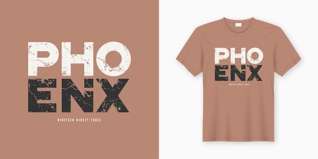 Phoenix stilvolles t-shirt und kleidungsdesign. druck, typografie, poster. globale farbfelder.