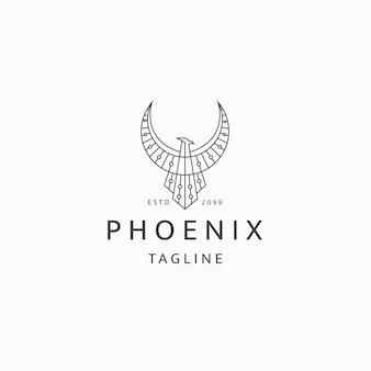 Phoenix-vogel-logo-symbol-design-vorlage flacher vektor