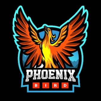 Phoenix-vogel-maskottchen-esport-logo-design