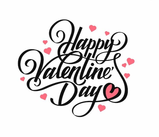 Phrase glücklicher valentinstag. kalligraphie. schwarzer text auf weiß mit symbolherz. für geschenkkarten.