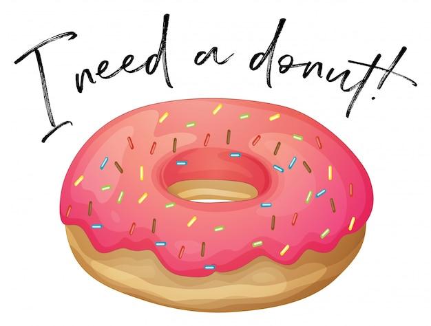 Phrase ich liebe donut mit erdbeer-donut
