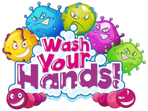 Phrasendesign zum händewaschen mit vielen viruszellen