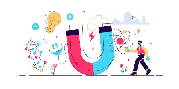 Physik illustration. flaches kleines wissenschaftliches forschungspersonenkonzept. symbole für elektrizität, magnetismus, lichtwelle und kräfte. wissen über das verhalten des universums. theoretisches und praktisches studium