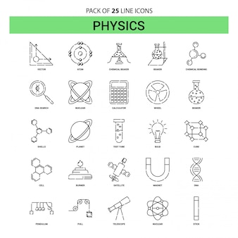 Physik-linie icon set - 25 gestrichelte outline-stil