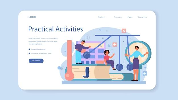 Physik-schulfach web-banner oder landing page. wissenschaftler erforschen elektrizität, magnetismus, lichtwelle und kräfte. physikkurs und unterricht.