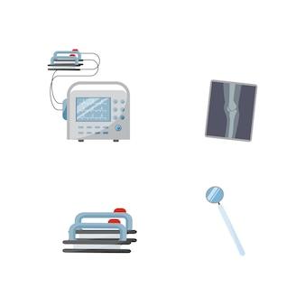 Physikalische instrumente flacher farbobjektsatz. cpr zur patientenrettung. doktor professionelle ausrüstung isolierte karikatur