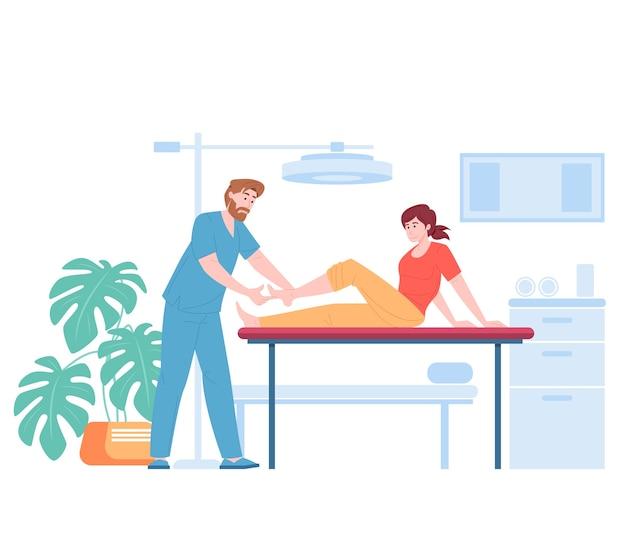 Physiotherapeut, der knöchel des weiblichen cartoonpatienten untersucht
