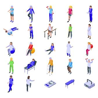 Physiotherapeut gesetzt. isometrischer satz des physiotherapeuten für webdesign lokalisiert auf weißem hintergrund