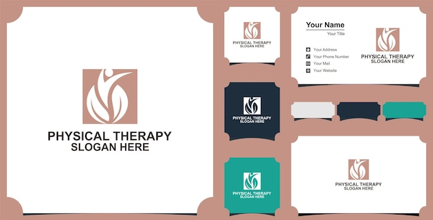 Physiotherapie logo vektor icon illustration sammlung und visitenkarte