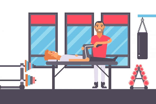 Physiotherapie-massage für die rehabilitation von verletzten sportlern