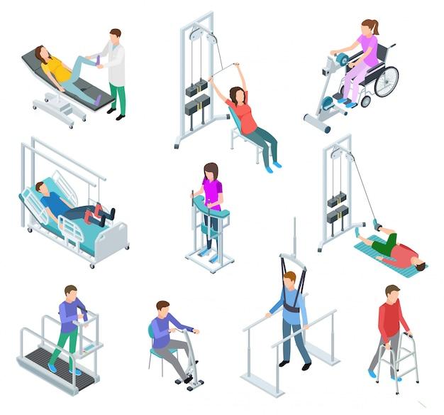Physiotherapie rehabilitationsgeräte. patienten und pflegepersonal in der reha-klinik. isometrische vektor festgelegt