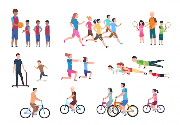 Physische aktivität. menschen flach fitness-set mit eltern und kindern in sportlichen aktivitäten. isolierte illustration