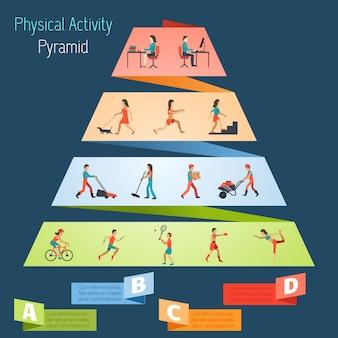 Physische aktivität pyramide infografiken