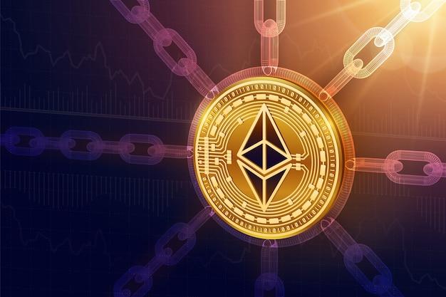 Physische ethereum-münze mit drahtgitterkette. blockchain-konzept.