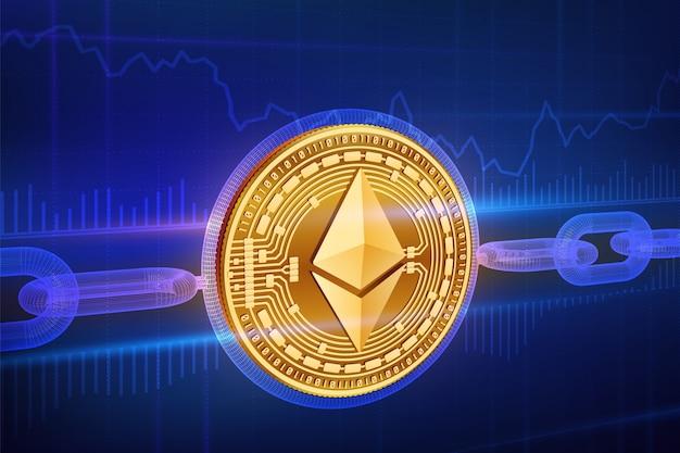 Physische goldene ethereum-münze mit drahtgitterkette. blockchain-konzept.