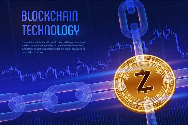 Physische goldene zcash-münze mit drahtgitterkette auf blauem finanziellem hintergrund. blockchain-konzept.