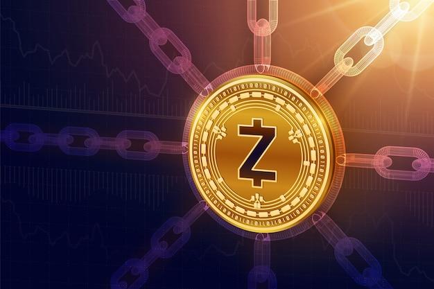 Physische zcash-münze mit drahtgitterkette. blockchain-konzept.
