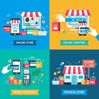 Physisches geschäft der flachen designillustration des einkaufs. online-shop. mobile zahlungen und online-shopping