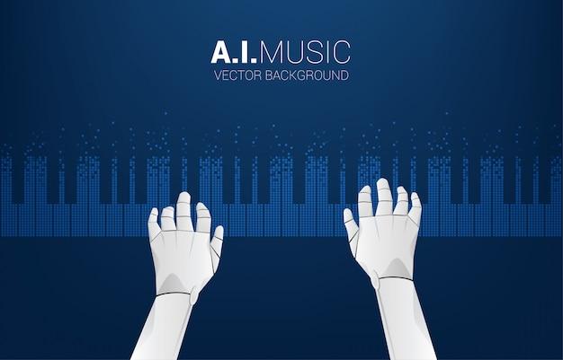Pianistenroboterhand mit klaviertaste vom pixel. hintergrundkonzept für künstliche intelligenz und musik komponieren.