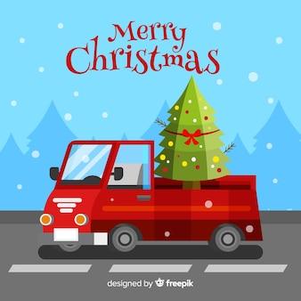 Pick-up lkw mit weihnachtsbaum