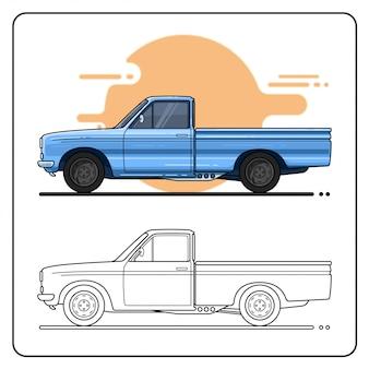 Pick up truck auto blaue farbe seitenansicht einfaches auto