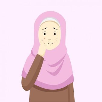 Pickel und akne im gesicht der islamischen frauen