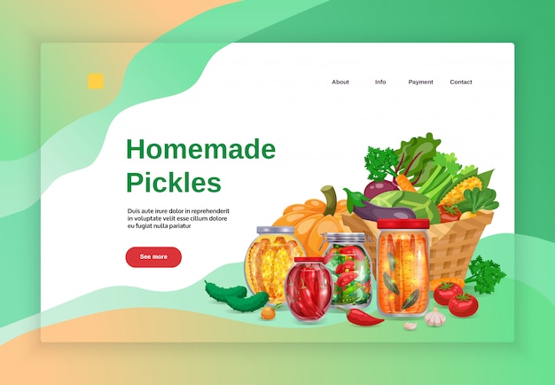 Pickles konzept banner website landing page design mit bildern text und anklickbaren links mit mehr button illustration